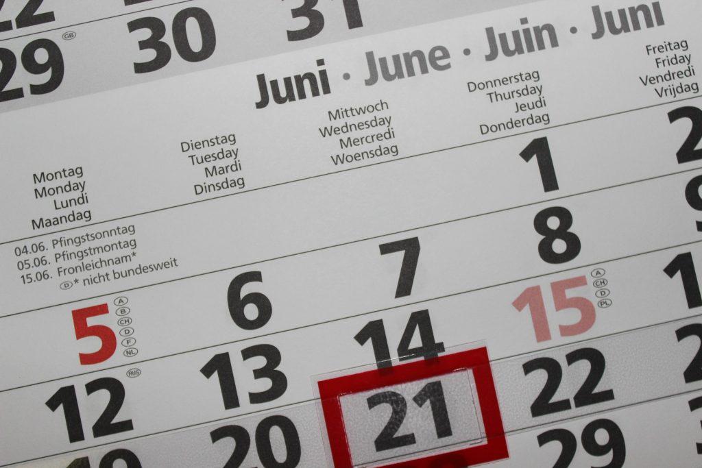 kalendář - příprava dovolené